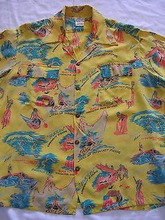 Vintage 1940's Shaheen's Rayon Hawaiian Shirt XL Long Sleeve