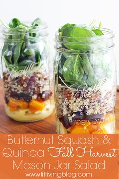 Butternut Squash & Quinoa Mason Jar Salad with Apple Cider Vinaigrette Recipe // FitLiving #recipe #healthy #masonjar