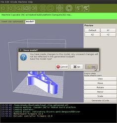 This is the software that will drive your MakerBot Replicator, Thing-O-Matic, CupCake CNC, RepRap machine, or generic CNC machine. You can give it a GCode or STL file to process, and it takes it from there. It's cross platform, easily installed, and is based on the familiar Arduino / Processing environments. ReplicatorG is used by thousands of MakerBot Operators, and has printed tens of thousands of objects and counting.