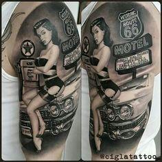 Trendy Ideas Drawing Tattoo Chicano Pin Up Car Tattoos, Biker Tattoos, Pin Up Tattoos, Badass Tattoos, Trendy Tattoos, Body Art Tattoos, Tattoo Drawings, Sleeve Tattoos, Hot Rod Tattoo