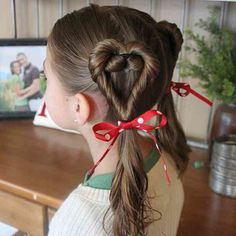 """Easy Hairstyles Your Daughter Will """"Heart"""" This Valentine's Day"""