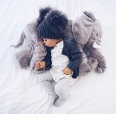 Big Elephant Stuffed Animal & Plush Toy Pillow For Baby Sleeping Back Cushion CM Plush Stuffed Animal Elephant Baby Sleeping Back Cushion Baby Comfort Doll Toy. So Cute Baby, Baby Kind, Cute Kids, Cute Babies, Baby Comforter, Baby Pillows, Pinterest Baby, Baby Boy Outfits, Kids Outfits