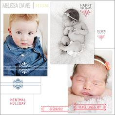 NEW 2012 Minimal Holiday template set from Melissa Davis Designs!