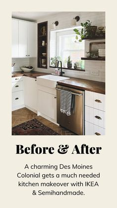 Ikea Kitchen Remodel, Diy Kitchen Cabinets, Small Kitchen Renovations, Kitchen Flooring, Dark Cabinets, Colorful Kitchen Cabinets, Ikea Kitchen Sink, Ikea Small Kitchen, Wood Floor Kitchen