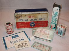 Vintage Tin Sentinel First Aid Kit Many by ilovevintagestuff