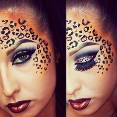 Gepard Halloween Make-up. Cheetah Face Paint, Cheetah Makeup, Animal Makeup, Tiger Makeup, Cheetah Print, Make Carnaval, Fantasy Make Up, Special Effects Makeup, Maquillage Halloween