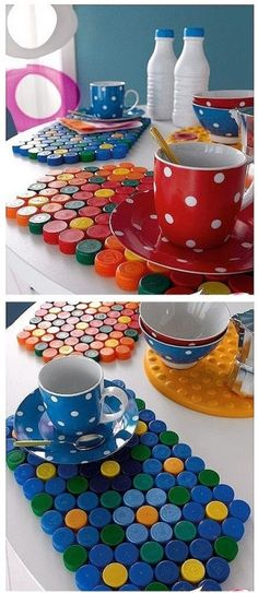 10 Creative Ideas To Reuse Old Plastic Bottles For Your Indoor And Outdoor Look - ArtsyCraftsyDad Plastic Bottle Caps, Bottle Cap Crafts, Fun Crafts, Diy And Crafts, Crafts For Kids, Bottle Top Art, Recycled Bottles, Diy Recycle, Upcycled Crafts