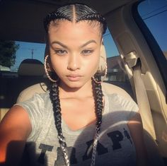 two braids with weave 2 Feed In Braids, Two Braids, Girls Braids, Jumbo Braids, Two Braid Hairstyles, Girl Hairstyles, Curly Hair Styles, Natural Hair Styles, Natural Beauty