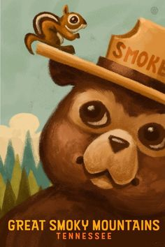 Lake Arrowhead, California - Smokey Bear and Squirrel (Art Prints, Wood & Metal Signs, Canvas, Tote Vintage Posters, Vintage Art, Vintage Travel, Squirrel Art, Smokey The Bears, Free Canvas, Stock Art, Mermaid Art, Hot Springs