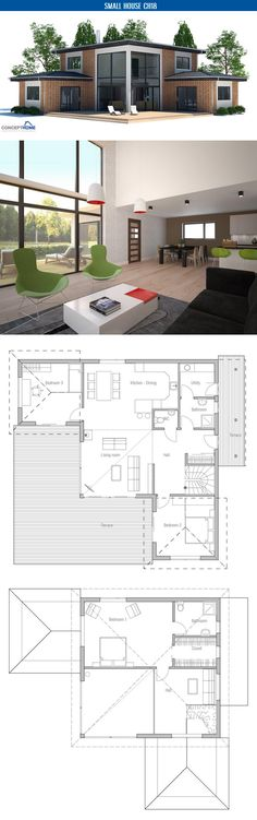 Small house plan with three bedrooms and two living areas, second living area on the second floor. Very popular small home design.