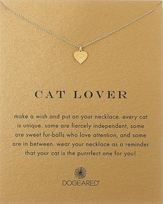 The purrfect cat lover necklace loved by crazy cat ladies. The unique heart charm has cute paw print on it. Best gifts for cat lovers.