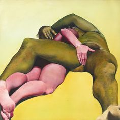 "Joan Semmel, ""Erotic Yellow"" (1973), oil on canvas, 72 x 72 in (© Joan Semmel, courtesy the artist and Alexander Gray Associates) (click to enlarge)"