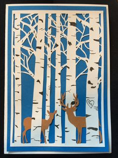 Deer wedding card I made. Only using white, blue and brown card, black outliner pen and a stanly knife. I just printed the deers out for the shape.