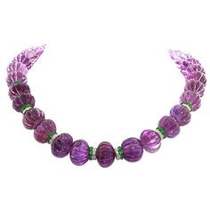 DAVID WEBB carved amethyst and diamond necklace Purple Jewelry, Amethyst Jewelry, Amber Jewelry, Diamond Jewelry, Beaded Jewelry, Fine Jewelry, Jewelry Necklaces, Diamond Necklaces, Diamond Pendant