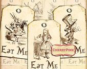Alice in Wonderland Tags decoration, Eat me Tags, collage sheet party supply, digital download