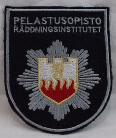 Swedish EMS/Fire/Rescue Institute Patch Räddningsinstitutet by Pelastusopisto Patches For Sale, Selling On Ebay, Pot Holders, Hot Pads, Potholders