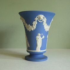Wedgewood Blue Jasperware Vase made in England in 1964
