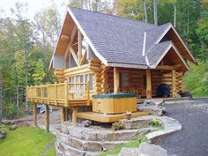 This log cabin is a perfect sized getaway.