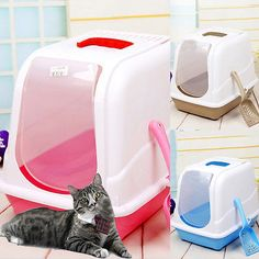 New hooded cat toilet box easy #clean filtered #kitten pet mess #litter tray 3col,  View more on the LINK: 	http://www.zeppy.io/product/gb/2/272186156848/
