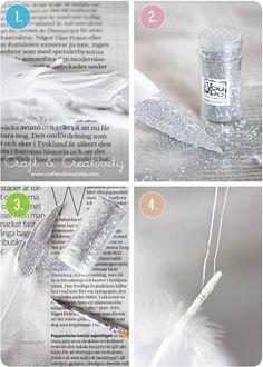 Fjädrar med glitter – Glitter feathers | Craft & Creativity – Pyssel & DIY