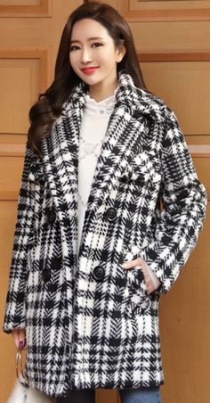 StyleOnme_Check Print Wide Collar Double-Breasted Wool Blend Coat #check #stylish #koreanfashion #kstyle #kfashion #wintertrend #dailylook
