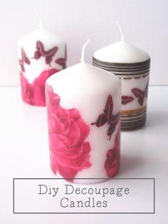 Diy Decoupage Candles.