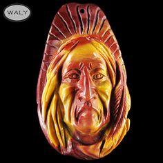 Carved American Indian Mookaite Bead | eBay