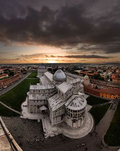 Sunset over the Piazza dei Miracoli, Pisa, Italy