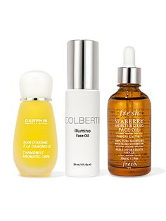 Darphin Chamomile Aromatic Care, Colbert M.D. Illumino Face Oil, and Fresh Seaberry Moisturizing Facial Oil