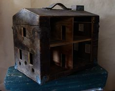 Vintage Folk Art Toolbox Dolls House Primitive Repurposed Art Antique Depression Era.