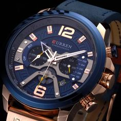 Casual Sport Watches for Men Blue Top Brand Luxury Military Leather Wrist Watch Man Clock Fashion Chronograph Wristwatch Mens Sport Watches, Best Watches For Men, Cool Watches, Latest Watches, Wrist Watches, Men's Watches, Luxury Watches For Men, Sport Casual, Men Casual