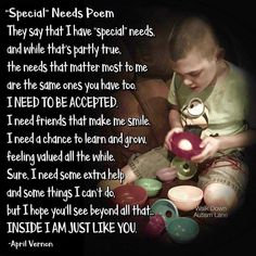 Special Needs Quotes, Special Needs Kids, Disability Awareness, Autism Awareness, Autism Articles, Down Syndrom, School Prayer, Autism Quotes, I Need Friends
