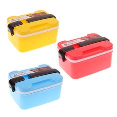 Hot Sale 2Layer Microwave Handle Bento Lunch Box Picnic Food Container Spoon Storage Blue Yellow Rose Red  V1NF
