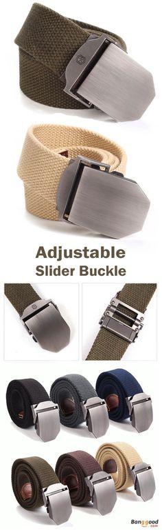 US$9.99+Free shipping. Men's Belt, Men's Waistband, Canvas Web Waistband, Military Style Belt. Adjustable Slider Buckle, Color: Army Green, Khaki, Navy, Blue, Coffee, Black, Dark Grey.