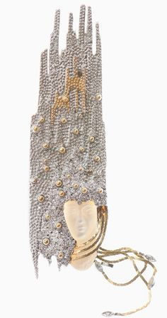 Erté (Romain de Tirtoff), Sophistication Brooch / Necklace, Gold, Silver, Diamonds, MOP, edition of 250