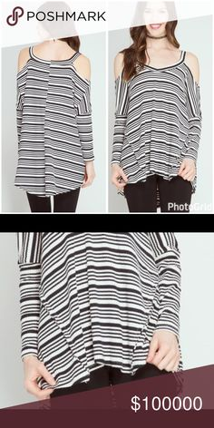 Hi lo reversed stitch cold shoulder contrast tunic Description: LONG SLEEVE STRIPED TUNIC WITH COLD SHOULDER   Fabric: S: 60%COTTON 40%RAYON KNIT TUNIC Tops Tunics