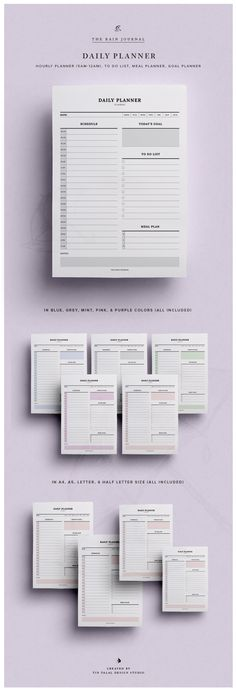 Daily Planner Printable w/ Hourly Planner, Meal Planner, & To Do List | Fit for Kikki K Large and A5 Filofax. This To Do List Planners can be inserted in your favorite planner!