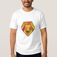 Lion Head Low Polygon Tee Shirt. Low polygon style illustration of a lion big cat head viewed from front set on isolated white background. #Lowpolygon #LionHead