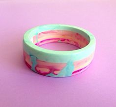 Tri-layer lollipop candy stripe resin bangle. by MarbelleDesign