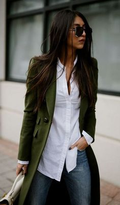 fall street style. green coat. white shirt. denim.