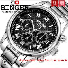 Genuine Swiss watches for men BINGER hollow automatic mechanical watch male…
