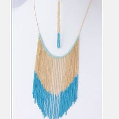 Chain Fringe Necklace Set Two tone chain fringe necklace.  Earrings included. Earrings measure about three inches long. Approximately 23 inches long with 3 inch extender.  Lead free.  I list my lowest prices upfront. Jewelry Necklaces