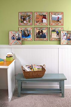 Use old scrabble boards as picture frames and old tiles to decorate the frames with words like laugh and love