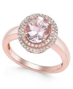 Morganite (1-1/2 ct. t.w.) and Diamond (1/5 ct. t.w.) Ring in 14k Rose Gold  | macys.com