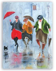 Image of 'Dancing Queens' Giclee canvas by Des Brophy Art And Illustration, Rain Art, Umbrella Art, Singing In The Rain, Rainy Days, Watercolor Paintings, Painting Art, Watercolors, Art Drawings