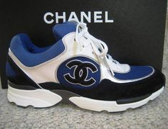 aa6b55c9835 Chanel CC Logo Sneakers Tennis Shoes White Blue Black Trainers 36 5 New   795