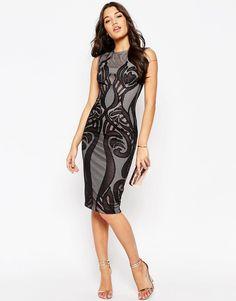 Image 4 of ASOS Premium Lace Paneled Midi Body-Conscious Dress