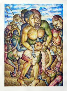 Mmakgabo Helen Sebidi Title: After Lobola (Married) Medium: Nine colour hand printed lithograph South African Artists, India Ink, True Nature, Ad Design, Spirit Animal, Printmaking, The Past, Prints, Painting