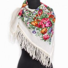 White Russian shawl kerchief for women Babushka Pavlovo Posad White Russian, Kerchief, Womens Scarves, Boho, Trending Outfits, Lady, Floral, Vintage, Accessories