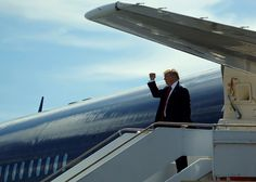 Was a server registered to the Trump Organization communicating with Russia's Alfa Bank? presidential nominee Donald Trump gives a fist-pump to the ground crew as he arrives on his plane in St. Augustine, Florida, U. Political Issues, Political News, The Trump Organization, Another World, Figure It Out, Thought Provoking, Donald Trump, Russia, Around The Worlds